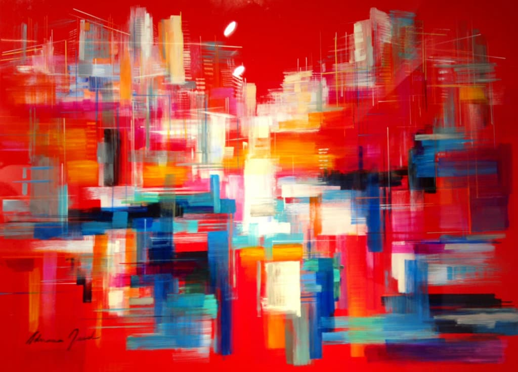 Reflections of Tel Aviv by Adriana Naveh acrylic and lacquer on aluminum - 100x140 cm