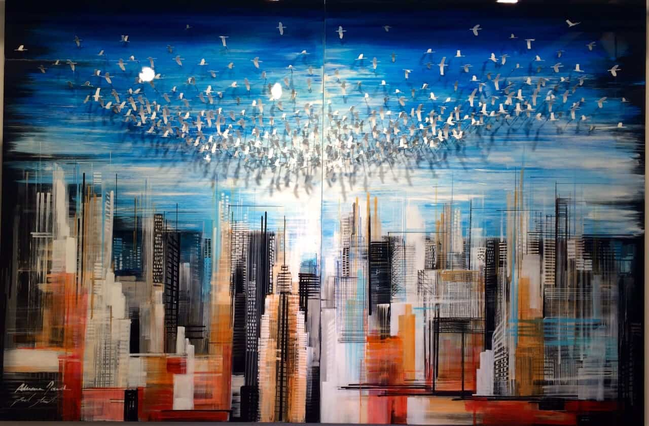 Birds Over the City 180x120 cm