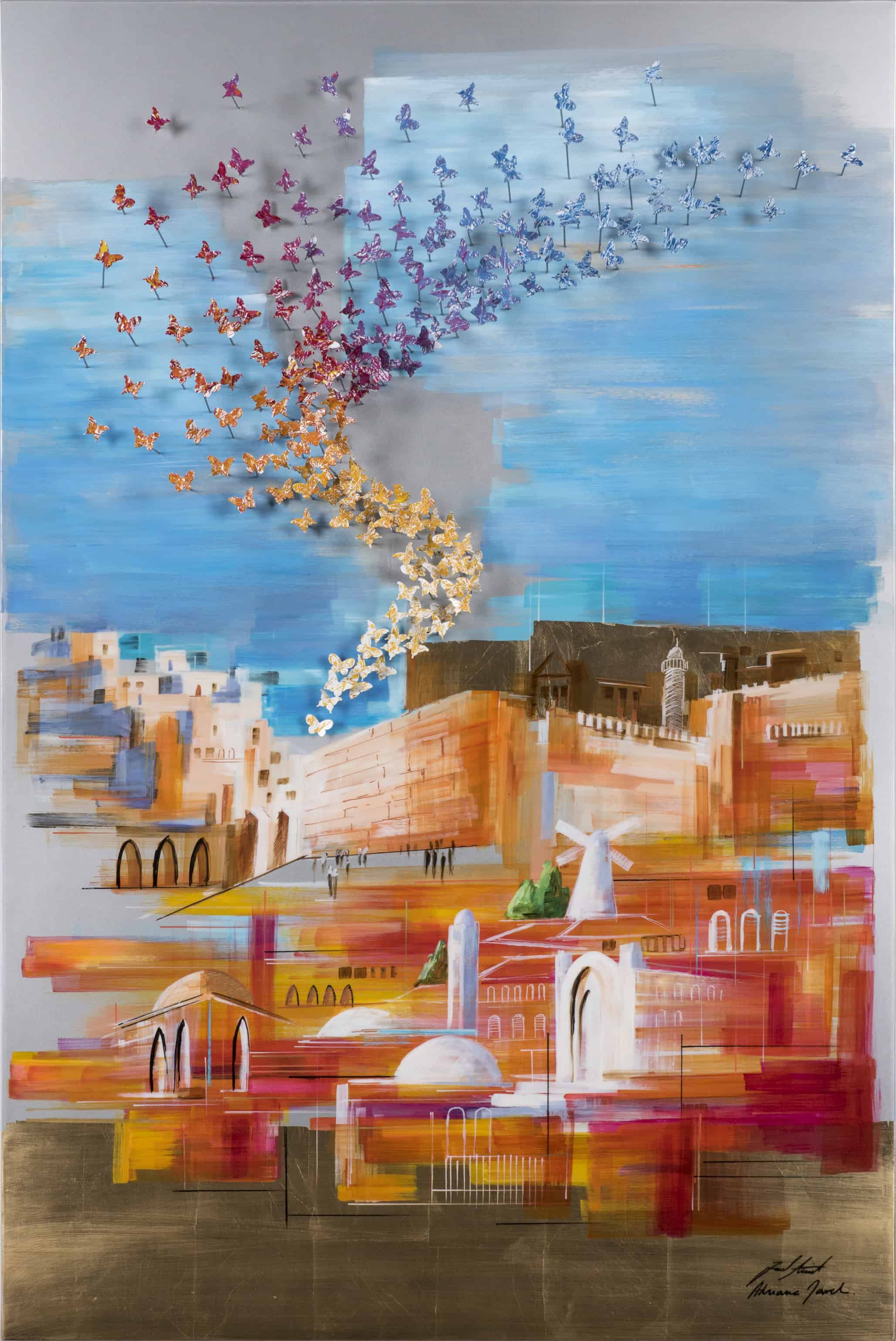 Flying Over the Wall 150x100 cm